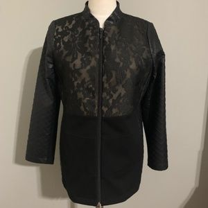 Chico's Blck Jacket W/ Faux Leather Sleeves Size M